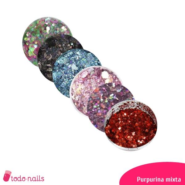 Purpurina mixta para uñas