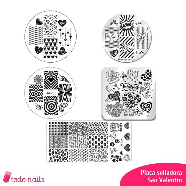 Placas para uñas San Valentín